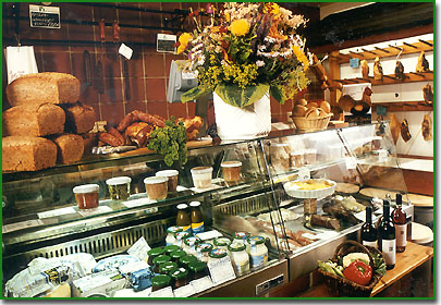 This whole food shop and coffee room is Bauernhofcafe Blume. You can go shopping there or stay to taste some home made food.